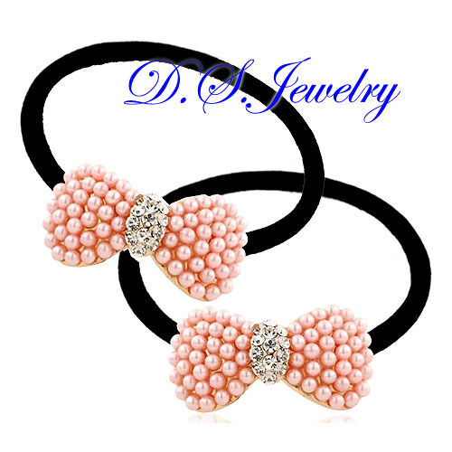 Colorful ABS Pearls /& Clear Rhinestones Butterfly Knot Hair Band Circle Pair