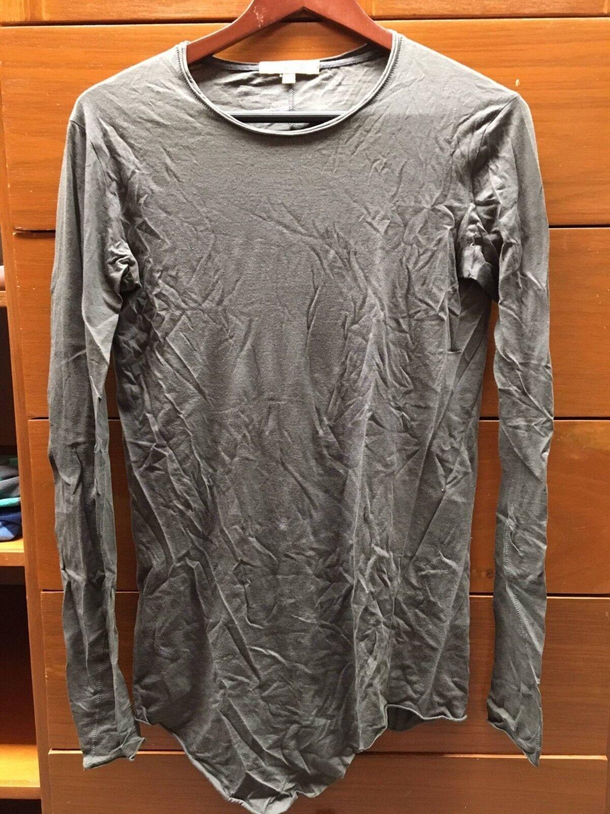 Damir Doma Brown Long Sleeve Tshirt Cotton Cashmere Asymmetrical Layering 44 XS