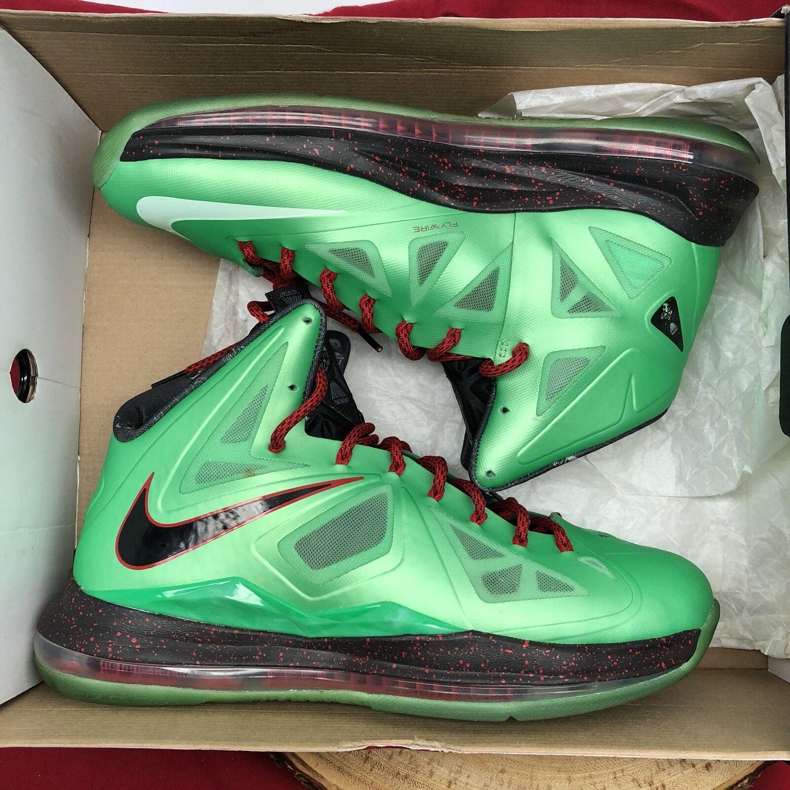 Nike Lebron X Cutting Jade Xmas 541100 303 Size Size Size 11 Green Jordan XI XII XIII XV 2 e035f3