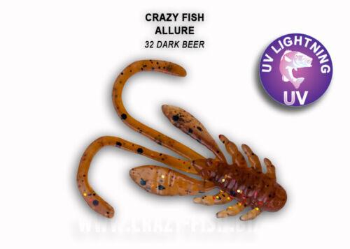 "40MM NYMPH 8pcs  Soft Bait Jig Head Drop Shot CRAZY FISH ALLURE 1.6/"""