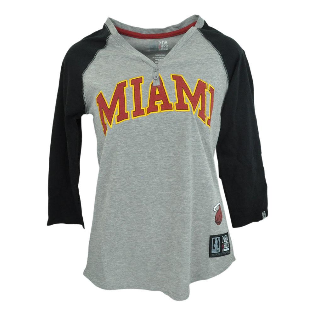 Miami Heat Unk NBA Halbarm T-Shirt Knopfleiste Knopfleiste Knopfleiste V-Ausschnitt Shirt Damen Grau c85570