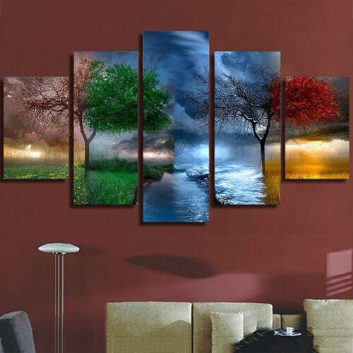 5tlg Natur Landschaft Tier Leinwand Bilder Wandbilder Kunstdruck Wand Malerei AL