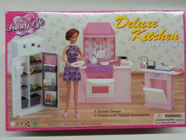 Barbie Size Dollhouse Furniture Kitchen Set Ebay