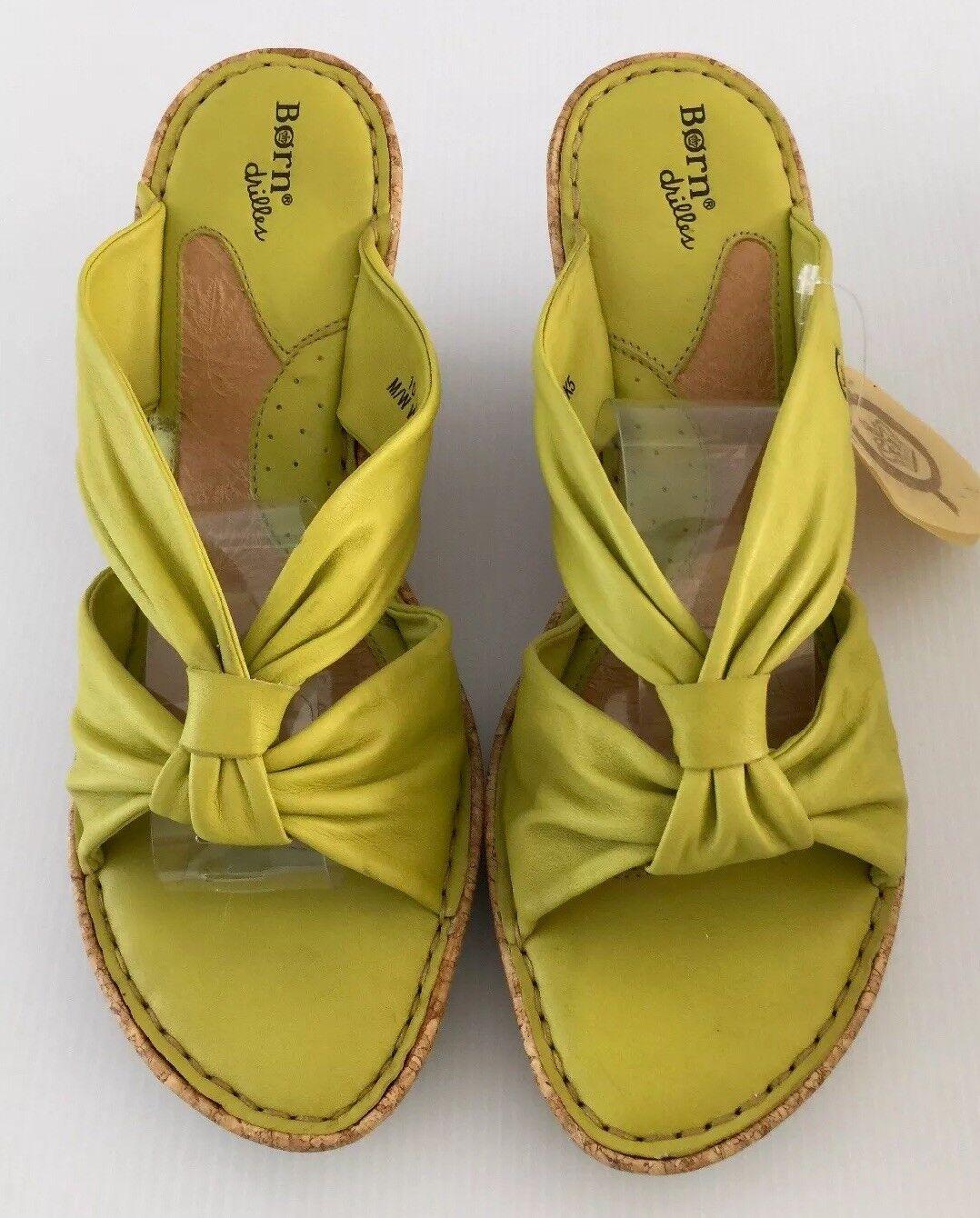 Born Womens Green Wedge Sandals Size 10 Green Womens Leather Cork NWB 6f9308