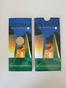 2003 UNC $1 ONE DOLLAR FOR SERVICE AUSTRALIA/'S VIETNAM FORCES COIN IN 2x2 HOLDER