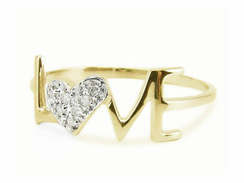 10K Yellow Gold Love Ring White Diamond Heart Cluster .05ct Size 5-9