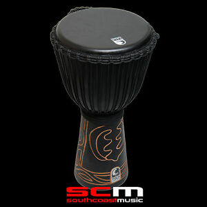 HAND-CARVED-DJEMBE-TOCA-BLACK-MAMBA-10-034-ROPE-TUNED-HAND-DRUM-WITH-GIG-BAG-NEW