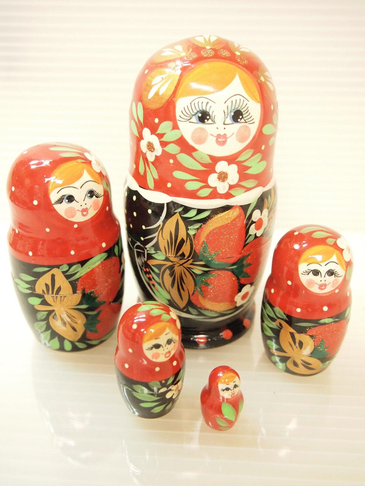 BEAUTIFUL RUSSIAN NESTING bambolaS MATRYOSHKA LACQUErosso  IN  KHOKHLOMA STYLE  clienti prima reputazione prima