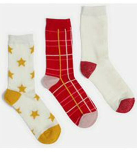 Ladies Girls 3 Pairs Missguided Patterned Cotton Socks Gift Boxed UK Size 4-8