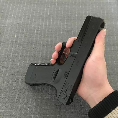 Glock Austria Black Lighter 1:1 Metal Gun Windproof Jet Butane Gas + Holder