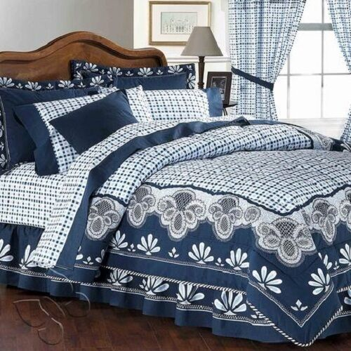 Andalucia Flora & Square Stamped Blau Reversible Comforter Set with Sheet set