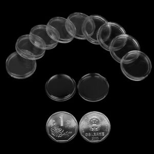 10X 27mm Applied Clear Round Cases Coin Storage Capsules Holder PlasticPJB