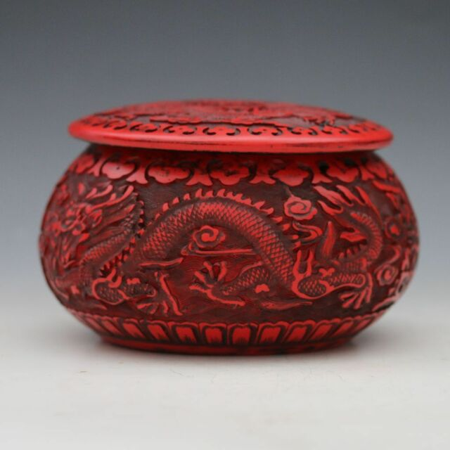 Old Peiking Delicate Lacquer Hand-carved Dragon Wai Chess Box CSYB210