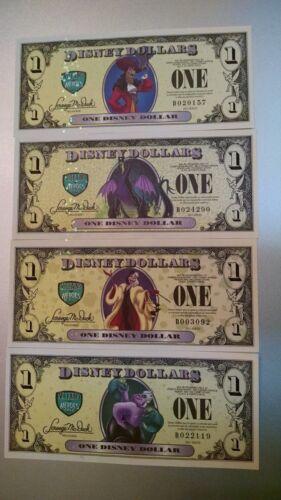 2013 A Series Disney Dollar 4 note set Villains W// Error Cruella  NEW