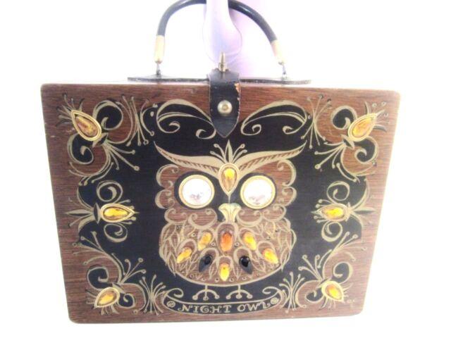 Enid Collins Texas 1963 Orig Signed Box Bag Night Owl,Wood Purse Handbag Kitch