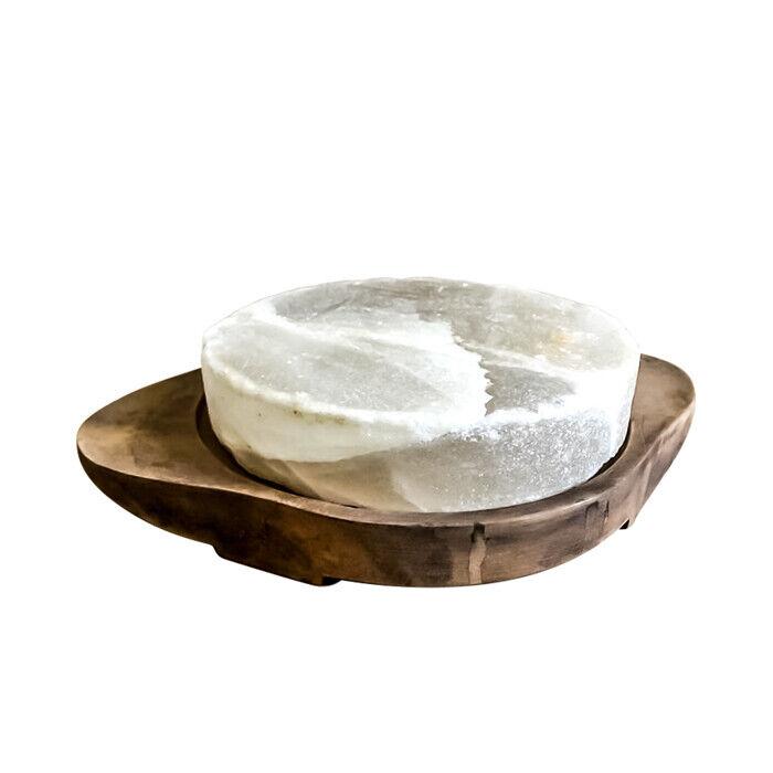 PIASTRA di Sale Bianco con Supporto in Legno Uso Alimentare Salt Plate Diet 20cm