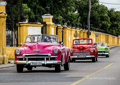 CUBA WOW!!!! LARGE CLASSIC VINTAGE CARS SHOTS FACTOR WHEN FRAMED