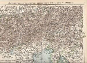 Tirol Italy Map.C 1890 Slovenia Italy Austria Carniola Tirol Carinthia Antique Map