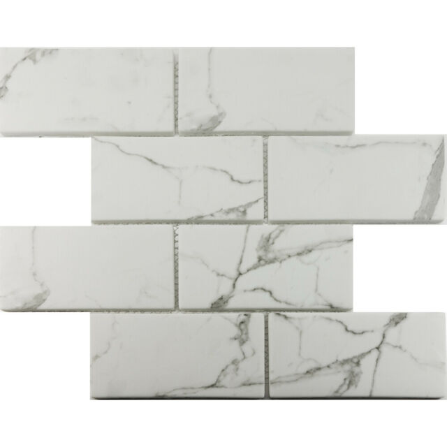 Calacatta White Gl 3x6 Subway Mosaic Tile Kitchen Shower Backsplash