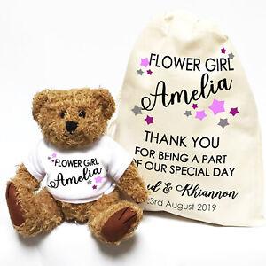 Wedding-Teddy-Bear-Gift-Personalised-Flower-Girl-Bridesmaid-Little-Stars