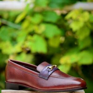 Men-Slip-On-Horse-Bit-Loafer-Handmade-Brown-Casual-Dress-Shoes-Calf-Leather