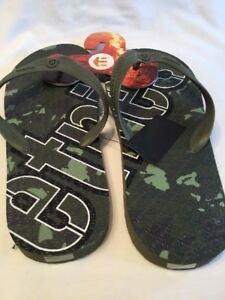 697f44a5490a87 Etnies Camouflage Mens Flip Flops Thong Green Black White UK Size 7 ...