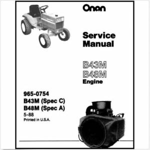 Details about Onan B43M B48M B43M-GAO16 Engines Spec C & A, A-C, C-A  Service Manual Parts CD