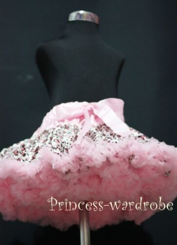 FULL Pink Leopard Pettiskirt Skirt Dance Tutu 1-8Year