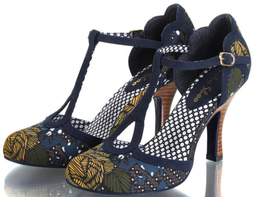Ruby Shoo POLLY Vintage TROPICAL JUNGLE 40s T-Strap Riemchen Pumps Rockabilly