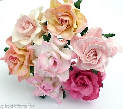25 Shabby Pink Paper Flowers Wedding Decor Basket Doll House Craft Supply G2-0