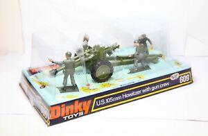 Dinky-609-105mm-Howitzer-con-tripulacion-pistola-en-su-caja-original-muy-cerca-Perfecto