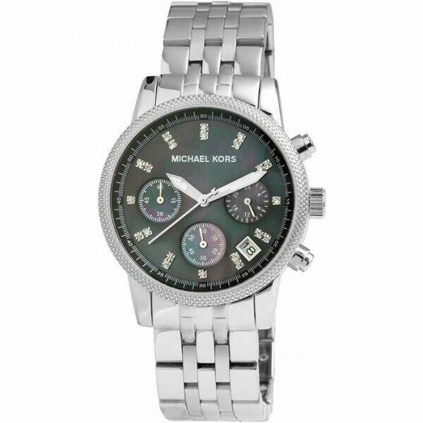 Michael Kors Uhr MK5021 RITZ Damenuhr Chronograph Edelstahl Silber Armband Datum