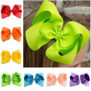 8 Inch Large Hair Bows Girls Grosgrain Ribbon Knot Clip Hair Accessories Gift OJ