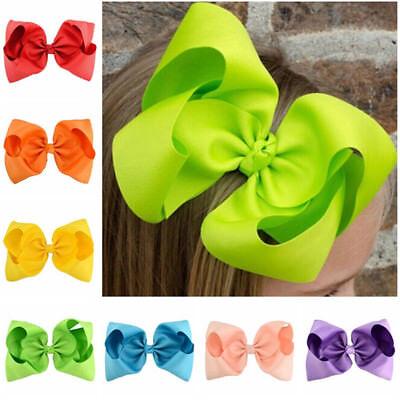 8 Inch Large Hair Bows Girls Grosgrain Ribbon Knot Clip Hair Accessories Gift GV