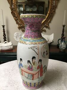 Early 20th Chinese Famille Rose Porcelain Tall Vase