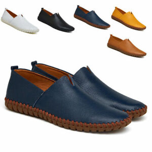 Men-039-s-Slip-On-Boat-Driving-Slip-On-Loafers-Leather-Soft-Moccasins-Shoes