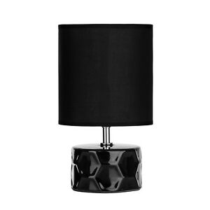 Honeycomb-Black-Ceramic-Base-Round-Fabric-Shade-Home-Lighting-Table-Lamp-Light