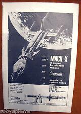 Pubblicità advertising vintage razzo giocattolo Quercetti Mach X con paracadute