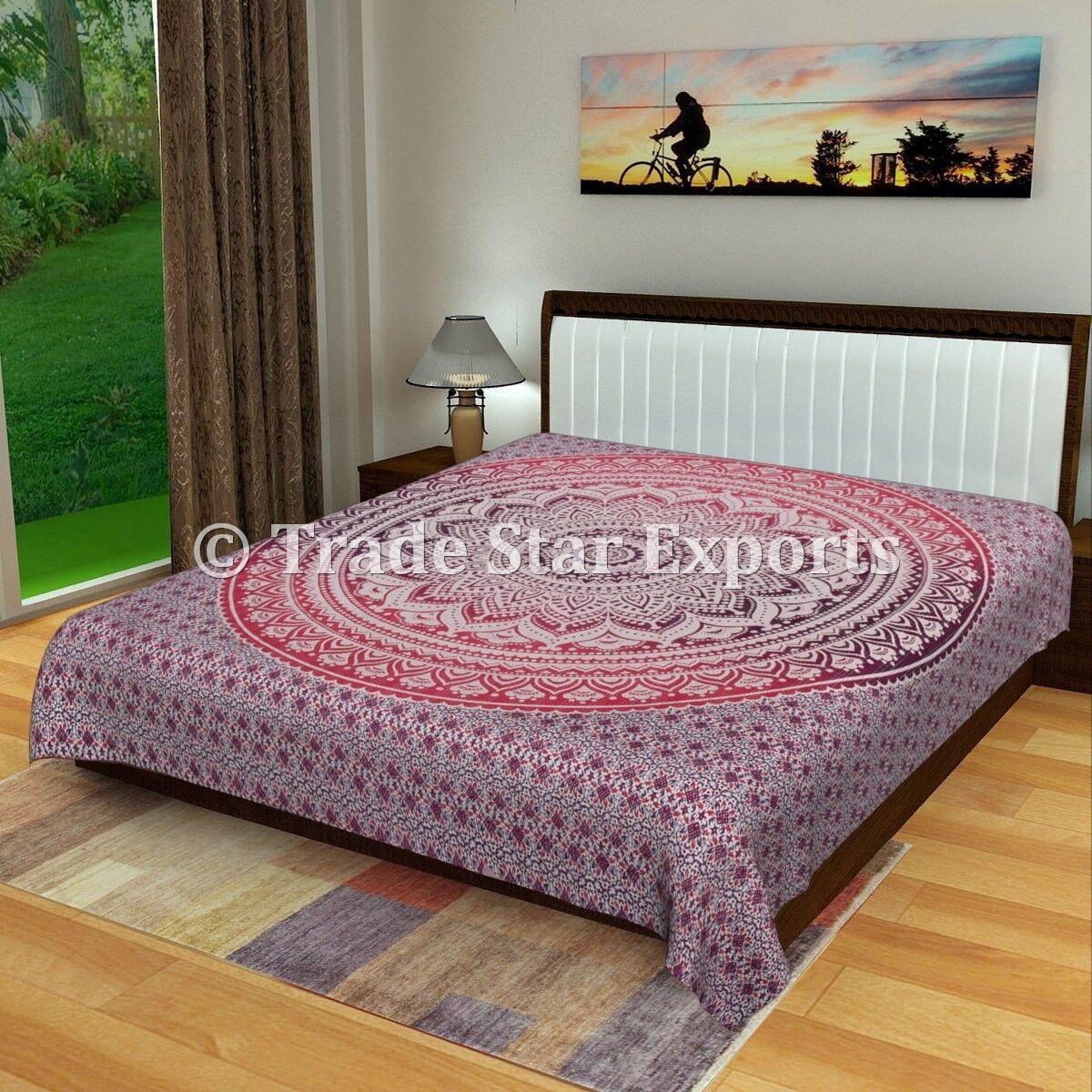 Indian Ombre Mandala Kantha Quilt 108  Handmade Bedding Throw Reversible Blanket