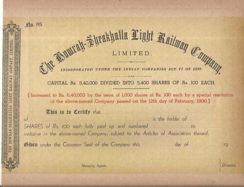 Howrah Sheakhalla Light Railway Company Limited 1900 India share certificate