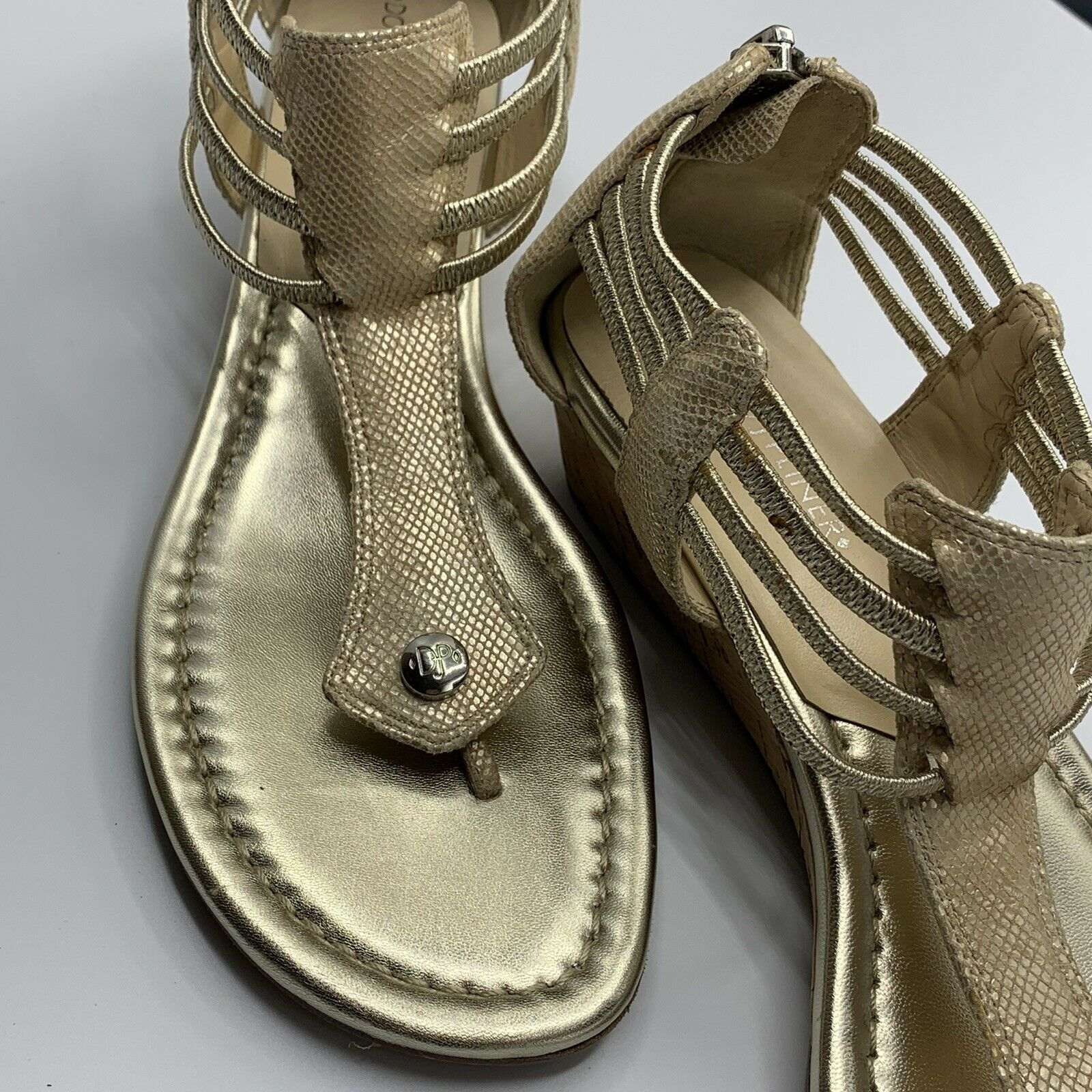gold strappy sandals - image 2