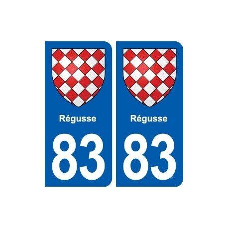 83 Régusse blason autocollant plaque stickers ville droits