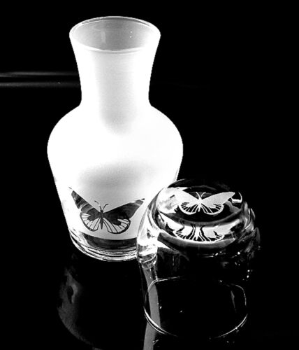 Boxed Butterfly carafe with matching engraved glass.