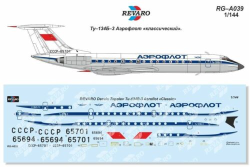 for Zvezda 1//144 Revaro Decal Tupolev Tu-134B-3 Aeroflot