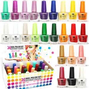 24 x NAIL VARNISH POLISH 24 DIFFERENT CLASSIC COLOURS WHOLESALE JOB LOT FROM UK 689853994324