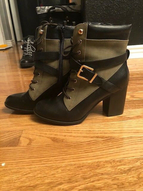 Apt. 9 military style booties, colorblock olive and black, size 8.5