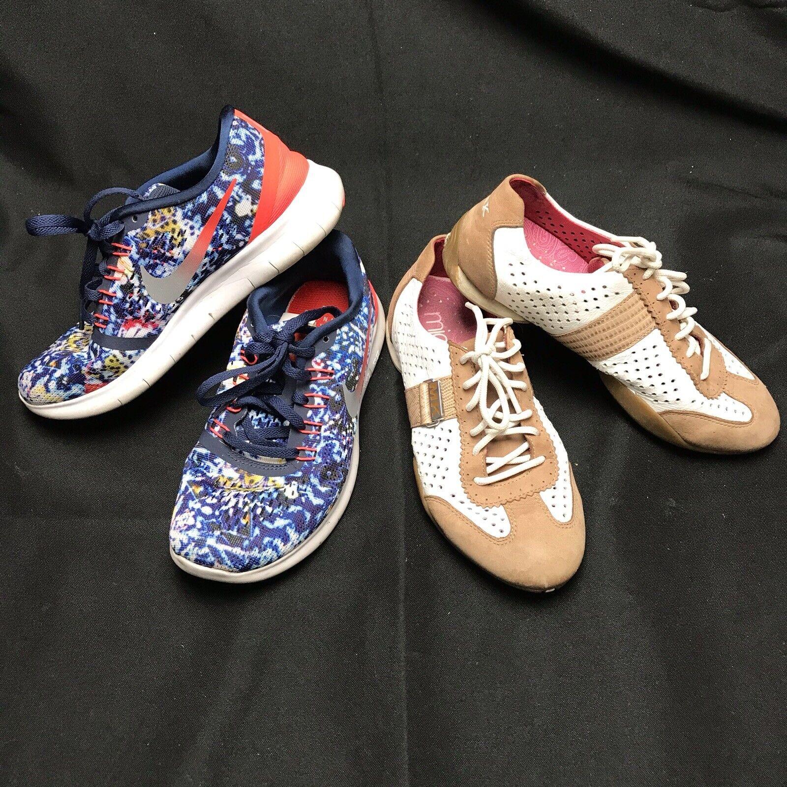 Lot 2 Womens 5 EU 35.5 35 Sneakers Inc Nike Running 849810 & Michelle K Leather