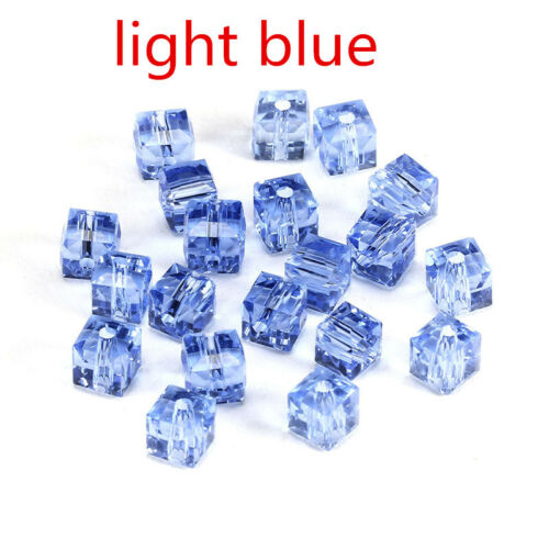 2MM//6MM//8MM Cristal Perle Facette Carré Cube Glass Loose Spacer Beads bleu clair