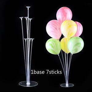 1 Set ballons Support Colonne Stand TUBES 7 Clear Balloon Stick Fête Décoration