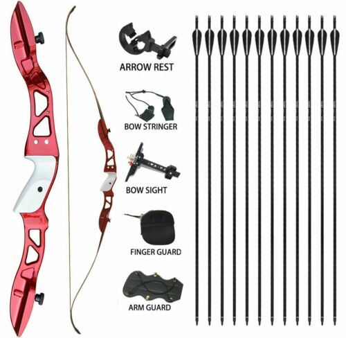 "Archery Takedown Recurve Bow Target 66/"" RH Arrows Set Longbow 24 lbs Target Game"